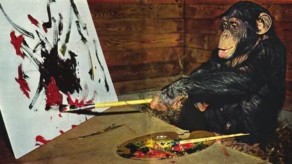 resim yapan şempanze