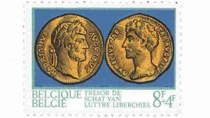 1973 yılına ait Belçika pulunda sağ taraftaki parada Aurelius görünüyor