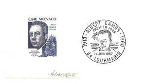 Monako Albert Camus pulunun deneme baskısı ve Fransa'da yayınlana ilk gün damgası