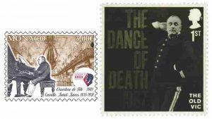 Monako pulunda Camille Saint-Saëns – İngiliz pulunda Ölüm Dansı sergileniyor